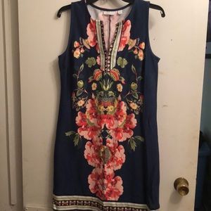 A floral printed dress with a blue background
